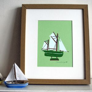 'Green Boat' Screen Print - new lines added