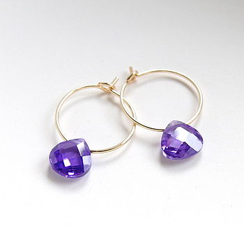 Petite Faceted Zirconia Hoop Earrings