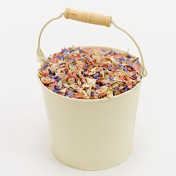 cream confetti pail with summer nights confettii mix