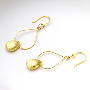 Brushed Gold Drop Shaped Earrings