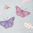 Butterflies Cushion - Duck-Egg Blue Detail