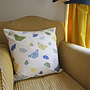 Butterflies Cushion - Blue and Yellow
