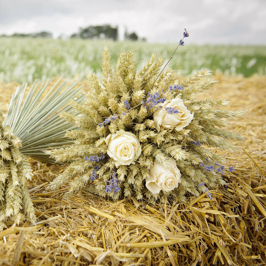 Rose And Lavender Wheat Sheaf By Shropshire Petals