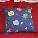 Wildlife Garden Cushion - Indigo