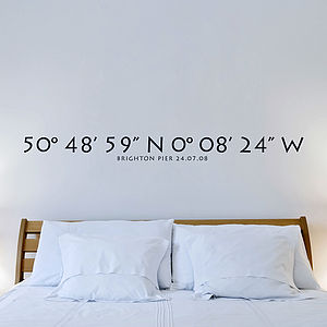 Personalised Coordinates Vinyl Wall Sticker - pictures, prints & paintings