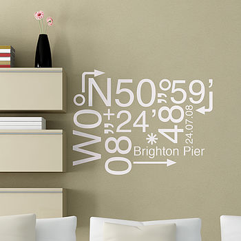 Personalised Location Coordinates Sticker