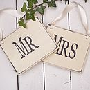 Vintage wood Mr & Mrs signs in cream