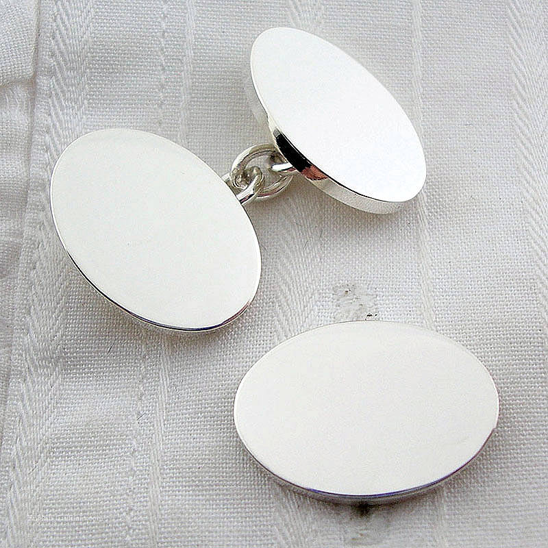 English Cufflinks Silver Oxford Oval Cufflinks