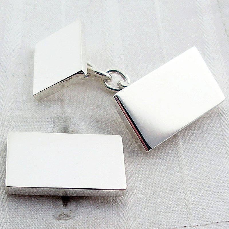 English Cufflinks Solid Rectangle Chain Cufflinks