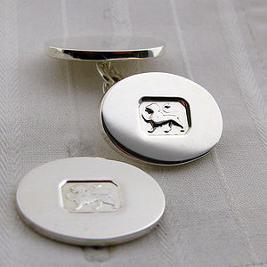 Lion Silver Cufflinks - gifts £75 and over
