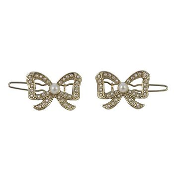 Gold Bow Hair Clips