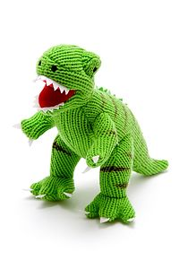 Green Knitted Dinosaur Soft Toy - soft toys & dolls