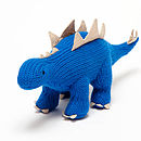Blue Knitted Dinosaur Soft Toy