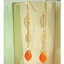 Gold Dangly Leaf Earrings
