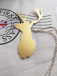 Silhouette Stag Head Necklace