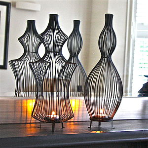 Pair Of Sculptural Wire Tea Light Holders - table decorations