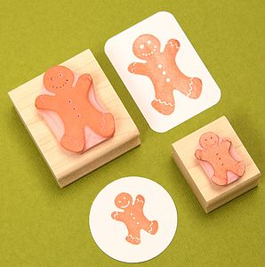 Gingerbread Man Hand Carved Rubber Stamp - cards & wrap