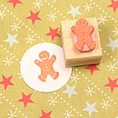 Small Gingerbread Man Hand Carved Rubber Stamp