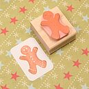 Large Gingerbread Man Hand Carved Rubber Stamp