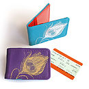 Printed Leather Feather Card Holder