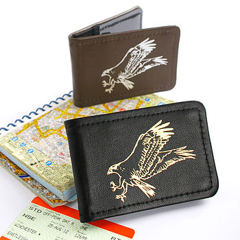 Brown and Black Hand Printed Leather Osprey Card Holder