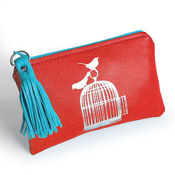 Red Printed Leather Birdcage Purse