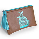 Chocolate Brown Printed Leather Birdcage Purse