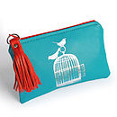 Turquoise Printed Leather Birdcage Purse