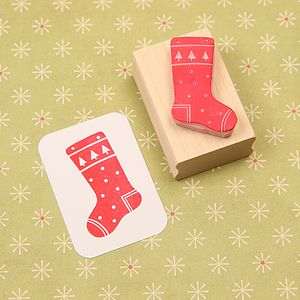 Christmas Stocking Hand Carved Rubber Stamp - stamps & ink pads