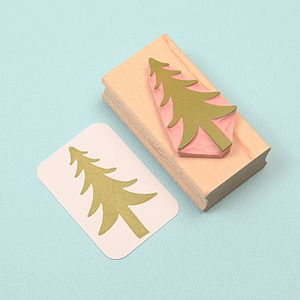 Christmas Tree Hand Carved Rubber Stamp - create your own cards
