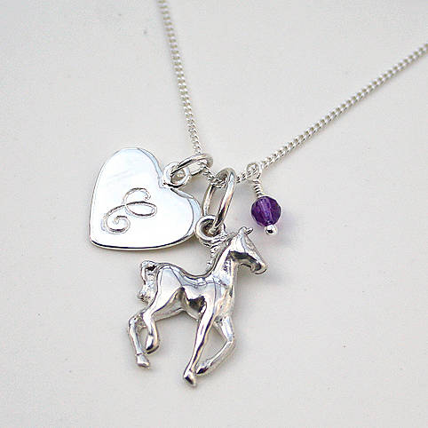 Initial and horse charm necklace by claudette worters initial and horse charm necklace amethyst birthstone mozeypictures Image collections