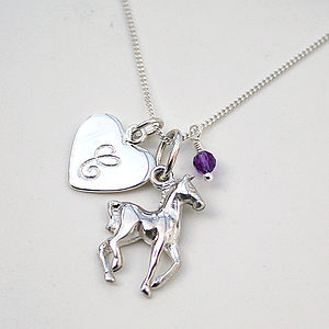 Personalised Necklace With Silver Horse Charm - children's jewellery