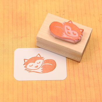 Sleepy Fox Hand Carved Rubber Stamp