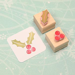 Holly And Berries Hand Carved Rubber Stamps - traditional christmas