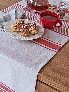 Natural Striped French Linen Runner Provence - bed, bath & table linen