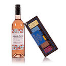 Personalised Rose Pink Wine With Chocolates