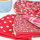 Egg cosy floral spotty reverse