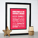 Framed Personalised Christmas Print - Red