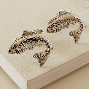 Leaping Fish Cufflinks - men's jewellery