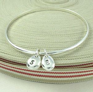 Personalised Silver Duo Beanie Charms Bangle - bracelets & bangles