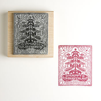 Happy Christmas Tree Rubber Stamp