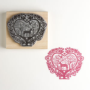 The Folk Heart Christmas Rubber Stamp - wedding stationery