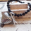 Black Crystal Beaded Heart Bracelet