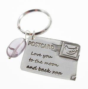 Personalised Silver Postcard Charm - keyrings