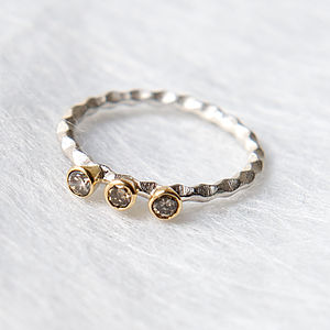 Triple Cognac Diamond Stacking Ring - women's sale