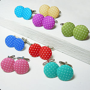 Polka Dot Fabric Cufflinks - men's accessories