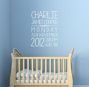 Personalised Baby Wall Sticker - office & study