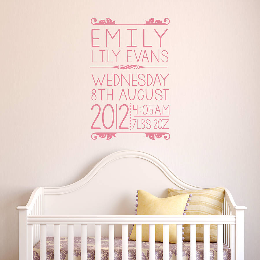 Personalised Baby Wall Sticker By Oakdene Designs