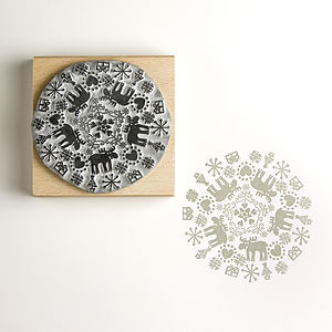 Reindeer Snowflake Christmas Rubber Stamp - view all decorations