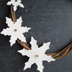 Porcelain Snowflake And Willow Wreath - wreaths